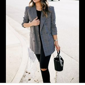 Vintage wool plaid relaxed fit jacket Blazer
